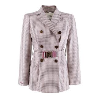 Fendi Aruba Pink Double-breasted Belted Jacket