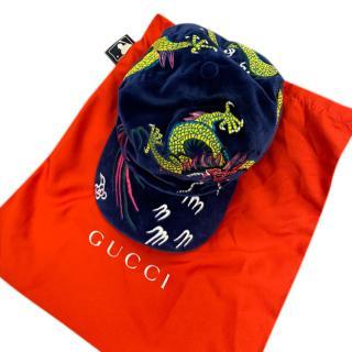 Gucci Dragon Embroidered Velvet Cap