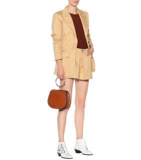 Chloe Quiet Brown Cotton Single Breasted Blazer Jacket