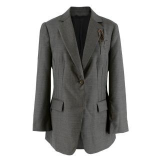 Brunello Cucinelli Grey Wool Monili Embellished Blazer Jacket