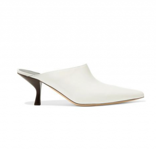 The Row White Bourgeoise Leather Mules