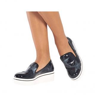 Stella McCartney Blue Patent/Glitter Binx Slip-On Sneakers