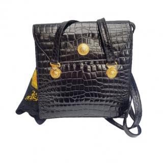 Gianni Versace Black Croc Embossed Shoulder Bag