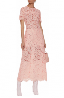 Ganni Duval Corded Lace Midi Dress Pastel Pink
