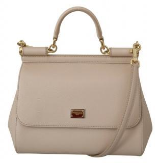 Dolce & Gabbana Beige Leather Sicily Bag