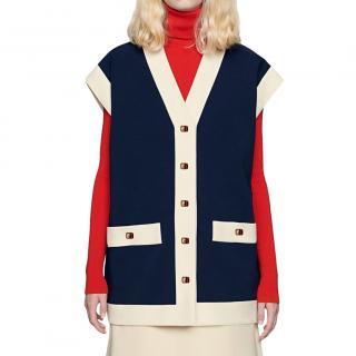 Gucci Blue Crepe Oversized Cady Vest