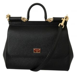 Dolce & Gabbana Black Leather Sicily Bag