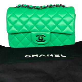 Chanel Green Lambskin Mini Flap Bag with Rainbow Hardware