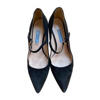 Prada Black Suede Mary-Jane Pumps