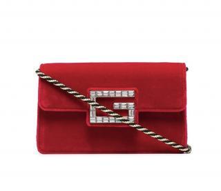 Gucci Red Velvet Broadway Shoulder Bag