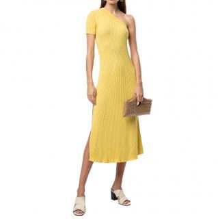 Anna Quan Yellow Felix Cotton-knit One-shoulder Dress