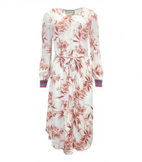 Gucci Ivory & Red Web Cuff Floral Button Down Dress