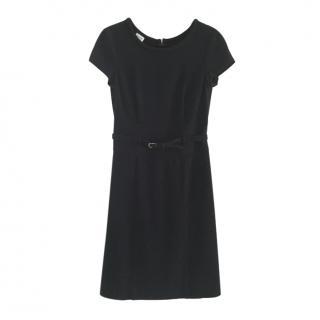 Armani Collezioni Navy Wool Belted Dress