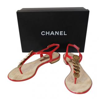 Chanel Red Coin Embellished Thong Sandals