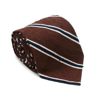 Shibumi Brown & Blue Silk Shantung Tie