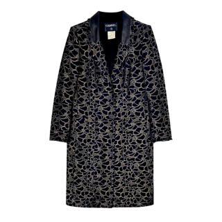Chanel Black & Gold Camellia Embroidered Coat