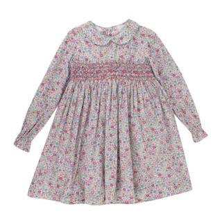 La Coqueta Pink Floral Smock Embroidery Dress
