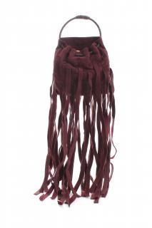 Bottega Veneta Burgundy Intrecciato Fringed Mini Bucket Bag