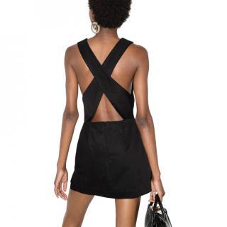 Bondi Born Black Cotton Square Neck Mini Dress