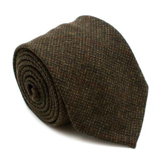 M. Cilento & F.llo Green Checkered Wool Hand Finished Tie