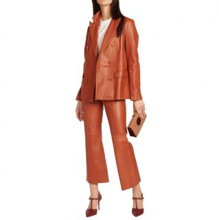 MiLaura Orange Double-breasted Leather Suit