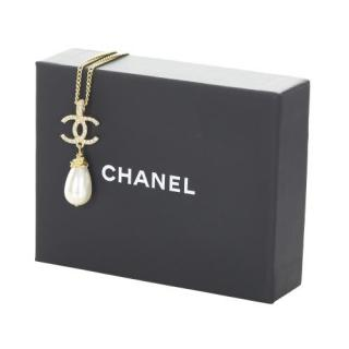 Chanel Faux Pearl Drop Crystal CC Necklace