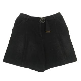 Chanel 2019 Black CC belted Denim Shorts