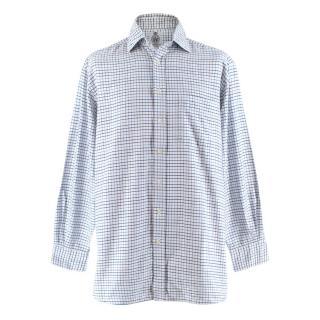 Cordings White/Blue Tattersall Check Classic Shirt