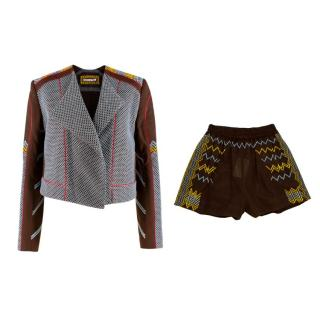 Rue Mariscal Brown Fully Embroidered Biker Jacket & Boxer Shorts
