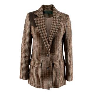 Holland Cooper Brown Wool Houndstooth Blazer