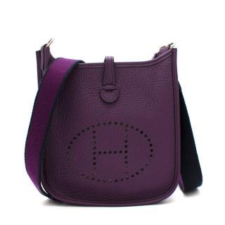 Hermes Ultraviolet Taurillon Clemence Leather Mini Evelyne Bag PHW