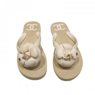 Chanel Beige Camellia Thong Sandals
