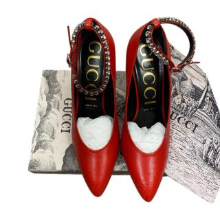 Gucci Red Leather Pumps with Crystal Ankle Strap