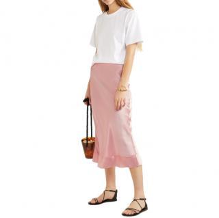 Lee Matthews Stella raw-edged silk-satin slip skirt
