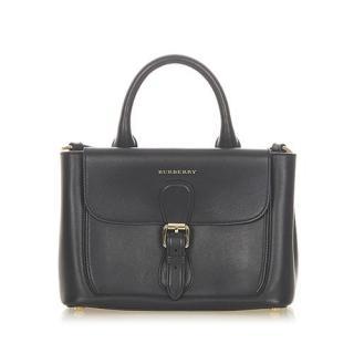 Burberry Black Leather Vintage Satchel