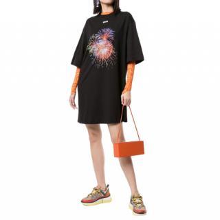MSGM Black Fireworks T-shirt Dress