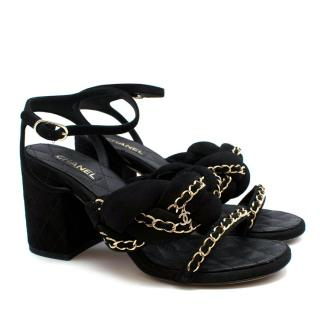 Chanel Black Suede Chain Trim Block Heeled Sandals