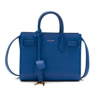 Saint Laurent Sapphire Blue Leather Sac de Jour Nano Bag