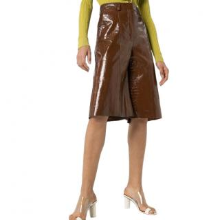 Dodo Bar Or Brown Crocodile-embossed Leather Culotte Shorts