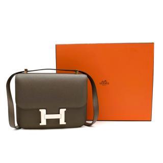 Hermes Gris Etain Epsom Leather Constance 24 PHW