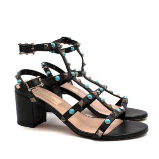 Valentino Black Leather Ankle Strap Rockstud Sandals 60