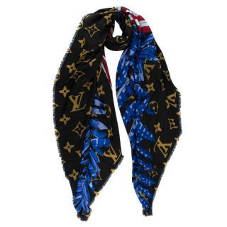 Louis Vuitton Blue & Red Monogram Wool Stole