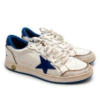 Golden Goose Ballstar White & Blue Leather Sneakers