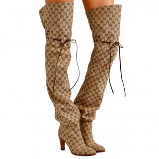 Gucci Supreme Jacquard Drawstring OTK Boots