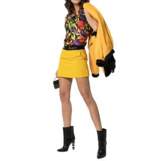 Gucci Yellow Tweed Horsebit Mini Skirt