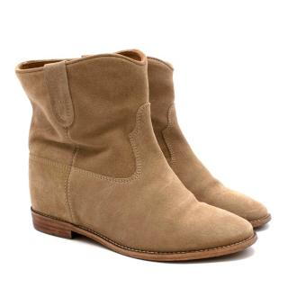 Isabel Marant Taupe Suede Crisi Ankle Boots
