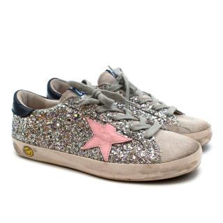 Golden Goose Silver Glitter Super Star Sneakers