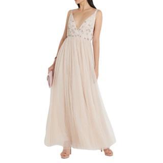 Needle & Thread Neve Embellished Champagne Maxi Dress