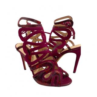 Alexandre Birman Burgundy Suede & Snakeskin Cage Sandals