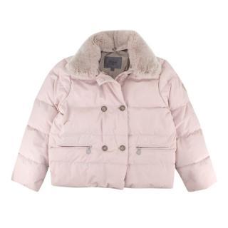 Bonpoint Pastel Pink Fur Collared Padded Puffer Jacket